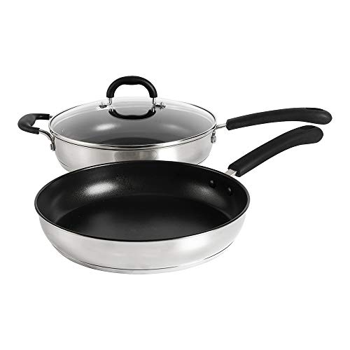 ProCook Gourmet Stainless Steel - Set Sauteuse & Poêle À Frire Induction - 28cm - Inox 18 10 - Revêtement Antiadhésif - Avec Couvercle En Verre Trempé