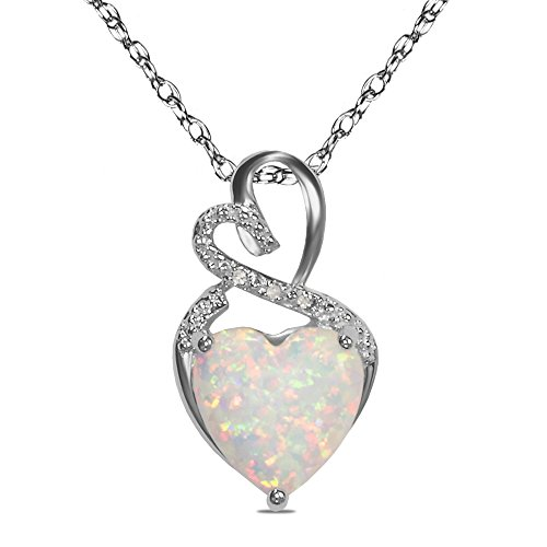 The Diamond Deal Lab-Created Opal Gemstone October Birthstone Heart and Diamond Accent Pendant Necklace Charm in 925 Sterling Silver