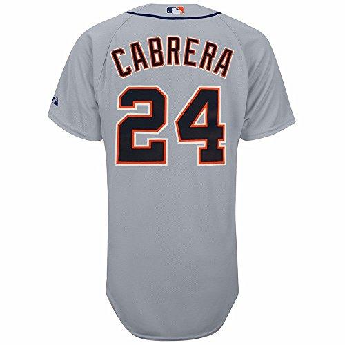 MLB Detroit Tigers Miguel Cabrera Six Button Authentic Road Jersey Herren, Herren, Grau, 52/XX-Large