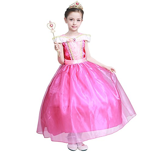 LOEL Girls New Princess Party Costume Aurora Long Dress, 130CM,130cm for 5-6 year,Pink