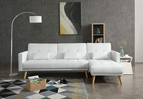 Best Greatime S2601 Fabric Convertible Section Sofa (White)