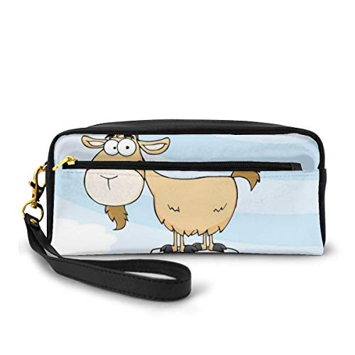 Pencil Case Pen Bag Pouch Stationary,Doodle Cartoon Goat Smiling And Standing On Top Of Mountain Pick Digital Illustration,Small Makeup Bag Coin Purse