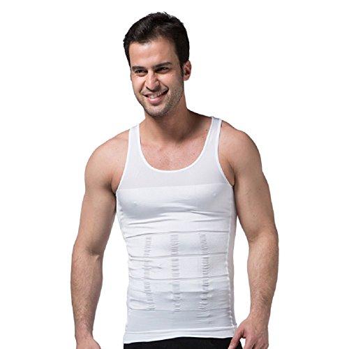 Ducomi ZEROBODYS Incredible Series - Camiseta Moldeadora Reductora de Efecto Adelgazante para Hombre - Hace la Zona Abdominal más Fina y Tónica (Blanco, L)