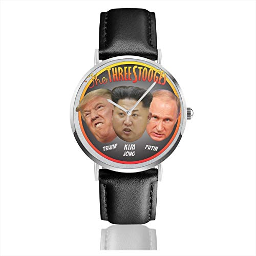 Unisex Business Casual The Three Stooges Trump Kim Jong Putin Uhren Quarz Leder Armbanduhr mit schwarzem Lederband für Männer und Frauen Young Collection Geschenk