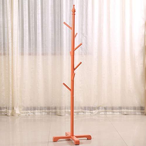 XX Coat Rack Standing Floor Perchero cilíndrico Infantil de Madera Maciza Perchero de Secado con 6 Ganchos para Ropa Bufandas y Sombreros 142CM (H) Perchero (Color : A)