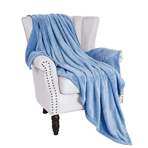 Exclusivo Mezcla Large Flannel Fleece Velvet Plush Throw Blanket – 50quot x 70quot Blue