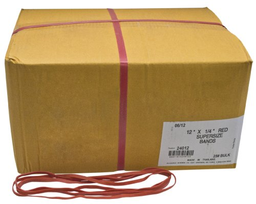 Alliance Rubber 24012 SuperSize Bands, 12' Red Large Heavy Duty Latex Rubber Bands (25 lb carton contains approx. 60-70 bands per lb)