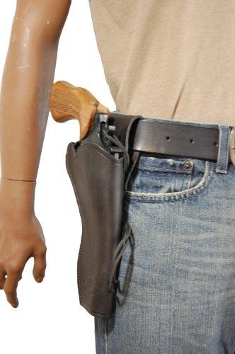 Barsony New Black Leather 49-er Style Gun Holster for COLT Python Right