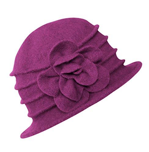 Urban GoCo Lana Cloche Sombreros Gorras para Mujer Vintage Floral Trimmed Sombreros de Invierno (#2 Rose Morado)