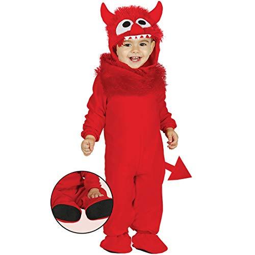 NET TOYS Tierno Disfraz de bebé Monstruo | Rojo en Talla 1 - 2 años, 92 - 93 cm | Adorable Atuendo para niño pequeño de Diablito | Adecuado para carnavales Infantiles y Fiestas Infantiles