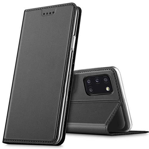 Verco Handyhülle für Samsung Galaxy A31, Premium Handy Flip Cover für Samsung A31 Hülle [integr. Magnet] Book Hülle PU Leder Tasche, Schwarz