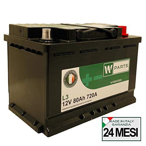 W-Parts Batteria Auto 80 Ah - 720A Spunto | Garanzia Italia | 278 x 175 x 190 | 80Ah |