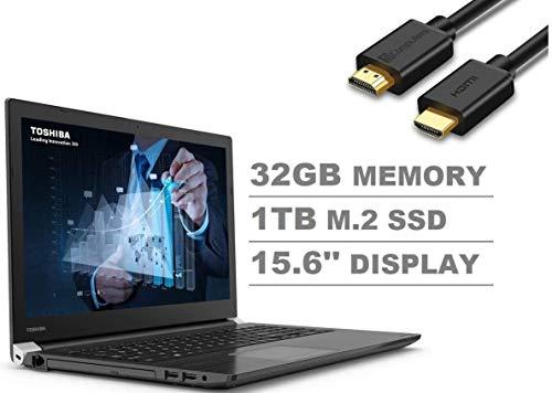 "2020 Toshiba Dynabook Tecra A50-F 15.6"" Full HD FHD (1920x1080) Business Laptop (Intel Quad Core i7-8565U, 32GB DDR4 RAM, 1TB M.2 SSD) Wi-Fi 6, Type-C, HDMI, DVD, VGA, Windows 10 Pro+IST HDMI Cable"