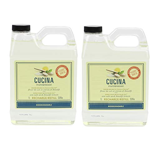 Fruits & Passion Cucina Sea Salt and Amalfi Biodegradable Liquid Hand Soap Refill 33.8 Ounces - 2 Pack