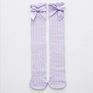 SHUHAN Fashion Clothing Lovely Pure Cotton Mid-Barrel Princess Knee Socks Baby Socks, Kid Size:28cm(White) Socks (Color : Purple)