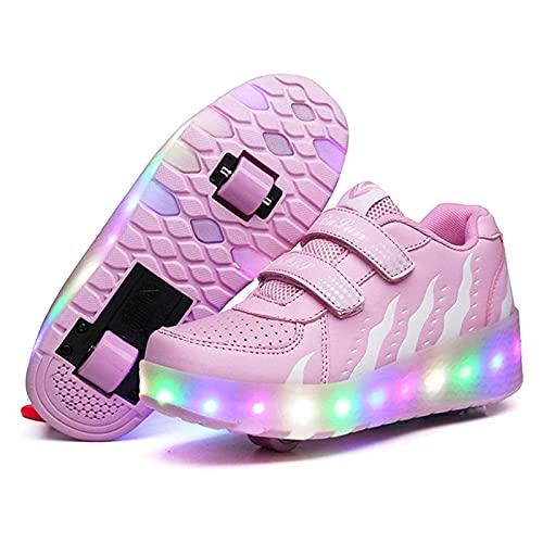 AMXSML Zapatillas de ruedas con luz LED para niños, con carga USB, para deportes, para exteriores, para niños, regalo