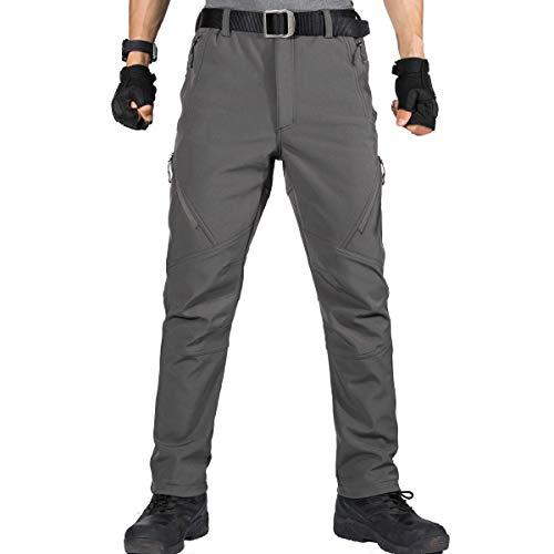 FREE SOLDIER Pantalones de Trabajo Softshell para Hombre Pantalones Trekking Termico Pantalones Montaña Impermeable Pantalones de Snowboard de Invierno Pantalones de Caza (Gris,44)