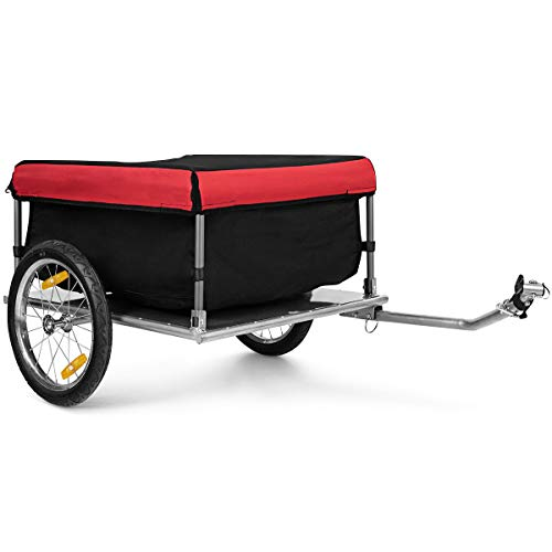 GOPLUS Remorque pour Vélo, Cadre en Métal Pliable, Chariot de Transport avec Barre d'Attelage, Toile enTissu Oxford, Housse Amovible, Roues de 16', Charge Max. 60 KG
