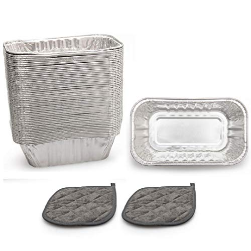 """Cebia (100 Pack) Disposable Mini Loaf Pans - 6"""" x 3.5"""" x 2"""" Disposable Aluminum Foil Baking Pans for Breads, Cakes, Pies - Complete with 2 Heat Resistant Pot Holder Coasters"""