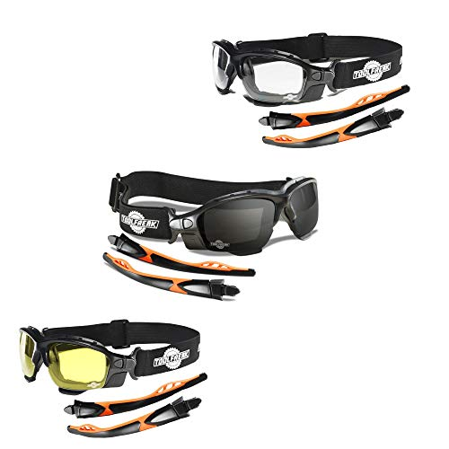 ToolFreak Spoggles Safety Glasses, Clear, Smoke and Yellow Tinted Polycarbonate Lens Mega Bundle Offer, Foam Padded , ANSI z87 Rated with Impact and UV Protection