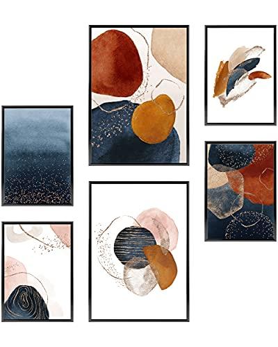 Heimlich® Premium Poster Set OHNE Bilderrahmen   Stilvolles Set mit passenden Bilder als Wohnzimmer Deko   2 x DIN A3 & 4 x DIN A4 - ca. 30x42 & 21x30   » Abstrakt Aquarell Gold I «