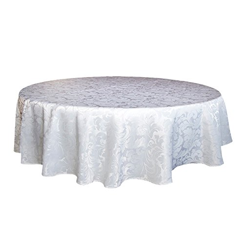 ColorBird Scroll Damask Jacquard Tablecloth Polyester Fabric Water Resistant Spillproof Table Cover for Kitchen Dinning Wedding Banquet Party Tabletop Use (Round, 70 Inch, White)