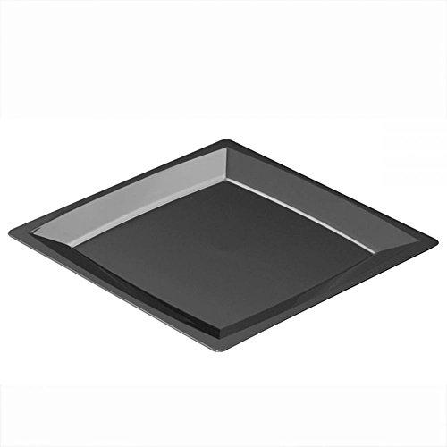 Sovie Tableware | XL Einwegteller aus Kunststoff (PS) in Schwarz 235x235x10mm | Menueteller Speiseteller | 12 Stück