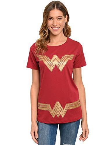 DC Comics Wonder Woman Women's T-Shirt Costume Print (Dark Red, Large)