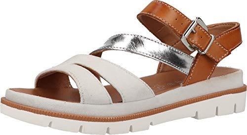 Marc Shoes Ayane, Sandalia Mujer, Piel Blanca y marrón, 36 EU