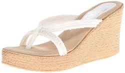 Jewel Wedge White Sandal