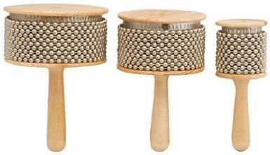 z9V36–Musikinstrument Holz Afuche Cabasas mit verchromtem Perlen und Drum Percussion Effekte 187x 130mm