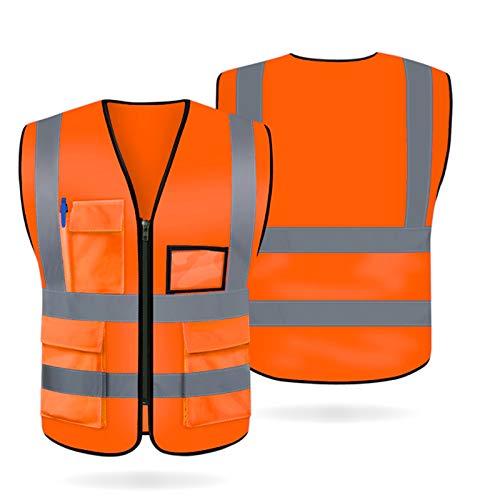 Artudatech Gilet Haute Visibilité, Respirant Gilet Reflechissant Gilet de Securite Gilet de Securité Réfléchissant avec 5 Poches et Zippé, Lavable, sans Rides, XL Orange