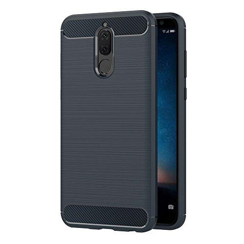 AICEK Funda Huawei Mate 10 Lite, Azul Silicona Fundas para Mate 10 Lite Carcasa Huawei Mate 10 Lite Fibra de Carbono Funda Case (5,9 Pulgadas)