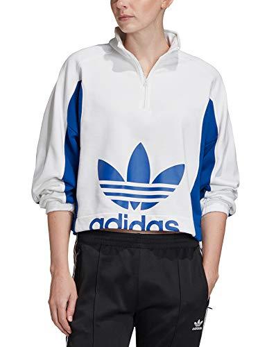 adidas Sweater Felpa, Donna, White/Collegiate Royal, 40