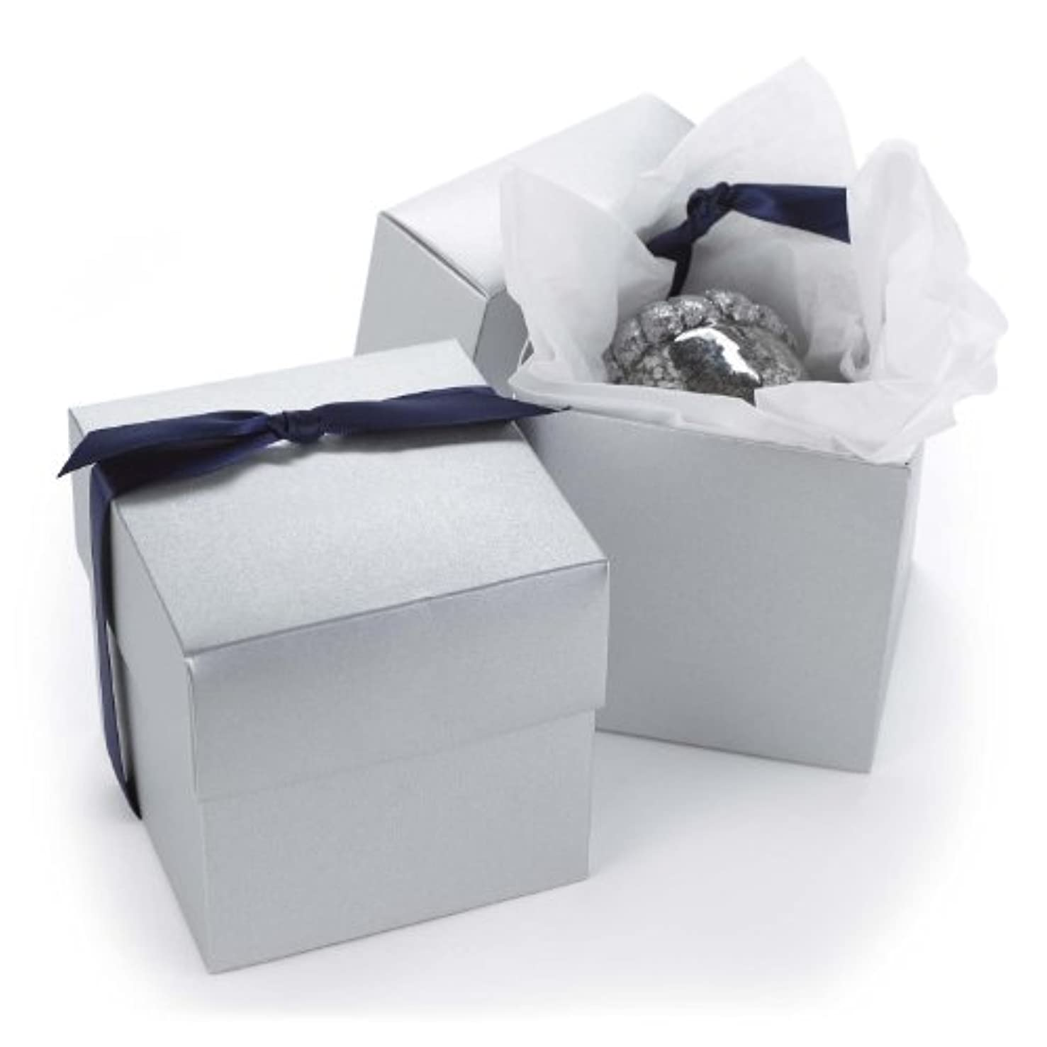 Hortense B. Hewitt 2-Piece Cup Cake Boxes, Silver Shimmer, Set of 25