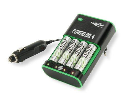 Ansmann 5117553 Powerline 4 Zero Watt Energiesparendes Stecker Ladegerät für Micro AAA und Mignon AA Akkus inkl. 4 x Mignon AA  NiMH maxE+ Akkus