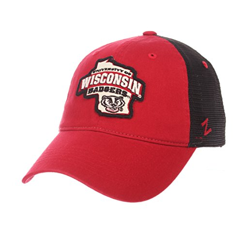 NCAA Zephyr Wisconsin Badgers Mens Freeway Relaxed Hat, Adjustable, Team Color