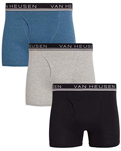 Van Heusen Herren Baumwolle Boxershorts Unterwäsche mit Funktionsschlitz (3er Pack) - - Small
