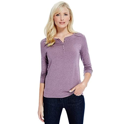 Marks and Spencer Ladies M&S Heatgen Long Sleeve Henley Neck Textured Winter Tops