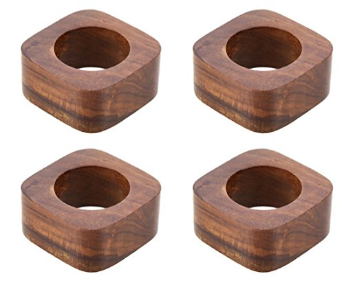 Shalinindia Artisan Crafted Dinner Table Decorations Wood Napkin Rings Set of 4 for Wedding Party