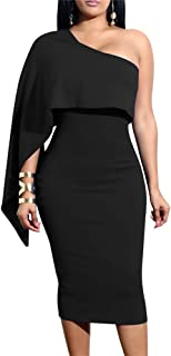 GOBLES Women s Summer Sexy One Shoulder Ruffle Bodycon Midi Cocktail Dress 4e28b5d95