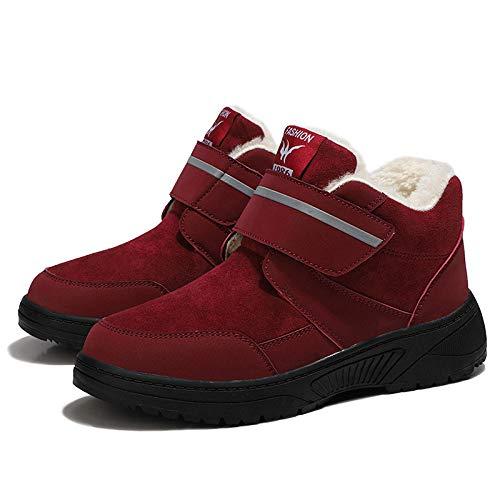 B/H Calzado Antideslizante diabético,Zapatos de Invierno con Velcro para Ancianos, además de Zapatos cálidos de Terciopelo para Caminar-Red_40,para Artritis Calzado