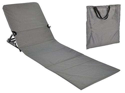 Spetebo Strandmatte faltbar mit Rückenlehne - grau - Sonnenliege Strand Liege Matte Gartenliege