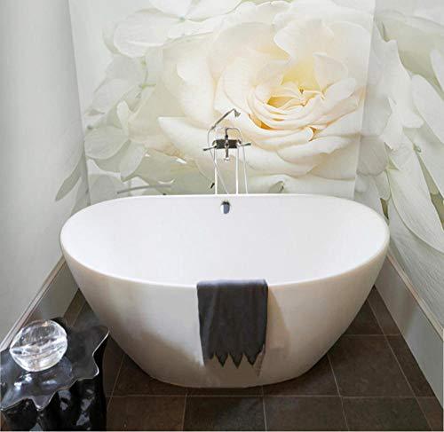 QAQB 3D-Wandtapete, weiße Rose, Badezimmer, Rückwand, Dekoration, PVC, wasserdicht, selbstklebend