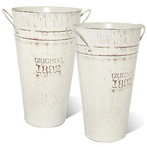 LESEN 12 Inch Vintage Metal Galvanized Flower Vase - Set of 2 - Farmhouse French Bucket - Table Centerpiece Rustic Home Decor for Fresh and Dried Floral Arrangements for Home and Weddings
