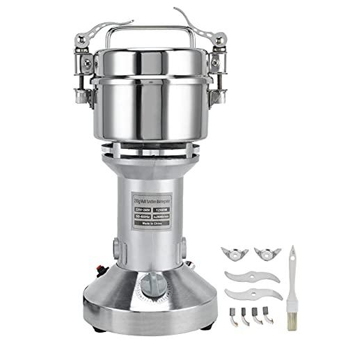 Molinillo de grano eléctrico, molinillo de polvo, interruptor de protección contra sobrecarga de acero inoxidable con hebilla de apertura rápida para café, hierbas, especias para cocina