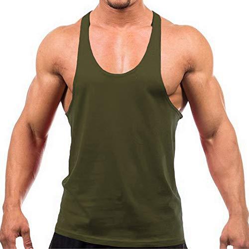 Herren Stringer Gym Tank Top Shirt Print Baumwolle Bodybuilding Sport Weste Gr. L, armee-grün