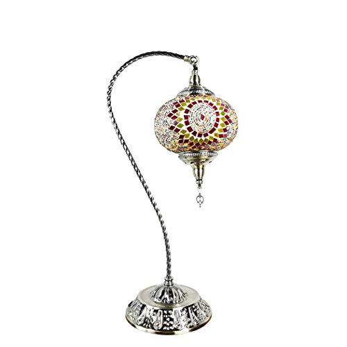 Lámpara de Mesa turca con Cuello de Cisne de Marrakech, lámpara de Escritorio de Vidrio de Mosaico, Linterna marroquí de cabecera de Estilo Tiffany con Base de Bronce para Sala de Estar, dor