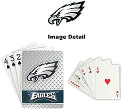 Playing Cards - NFL - Philadelphia Eagles NFL Team Logo Standard Size Diamond Plate Pattern Poker Blackjack Crazy Eights - 52 Card Deck Plus 2 Jokers