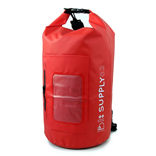 Buhbo 15 Liter Supply82 Waterproof Dry Bag with Clear Window Pocket (Red) Best Stuff Sack for Kayaking Fishing Rafting Boating Camping Beach Swimming Gym